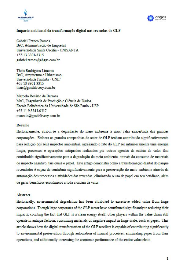 IMPACTO AMBIENTAL DA TRANSFORMACAO DIGITAL NAS REVENDAS DE GLP