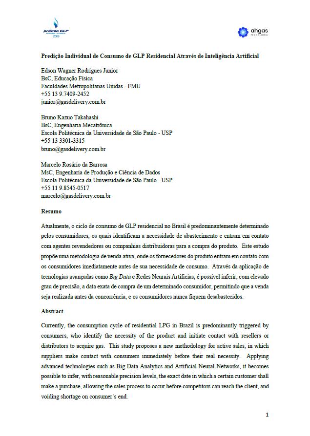 PREDICAO INDIVIDUAL DE CONSUMO DE GLP RESIDENCIAL ATRAVES DE INTELIGENCIA ARTIFICIAL